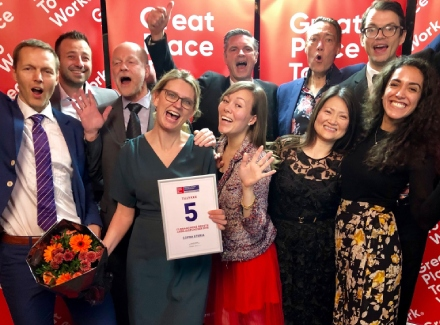 Sopra Steria Denmark team celebrating its Great Place to Work 2018 award